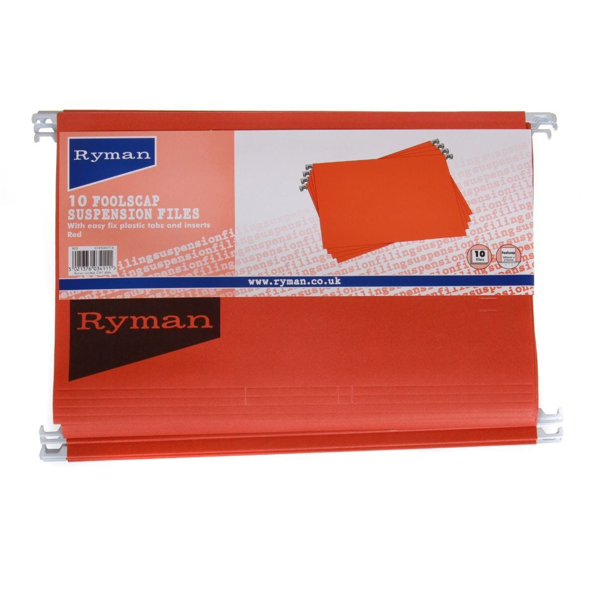 Ryman Suspension Files Foolscap Pack of 10 Red