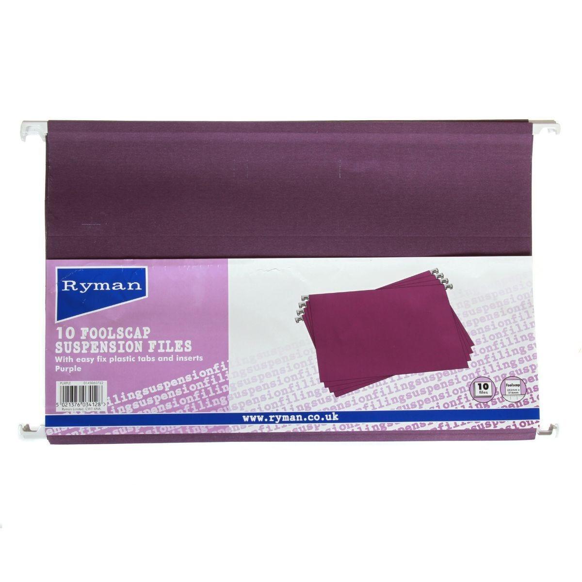 Ryman Suspension Files Foolscap Pack of 10 Purple