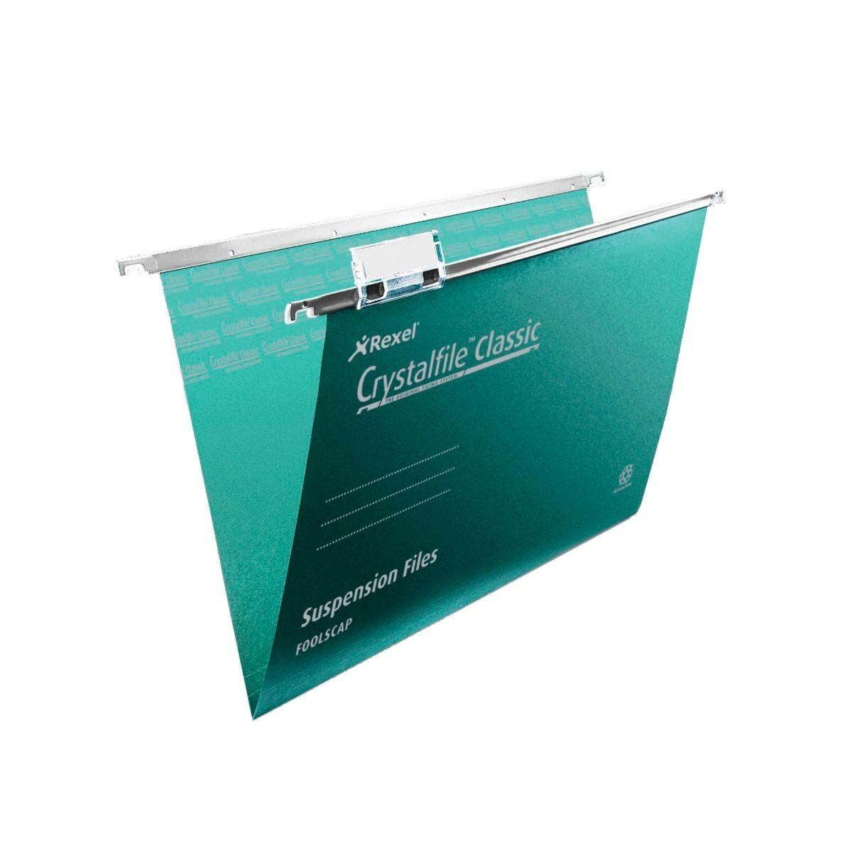 Rexel Crystalfile Classic Foolscap Suspension File 15mm Pack of 50 Green