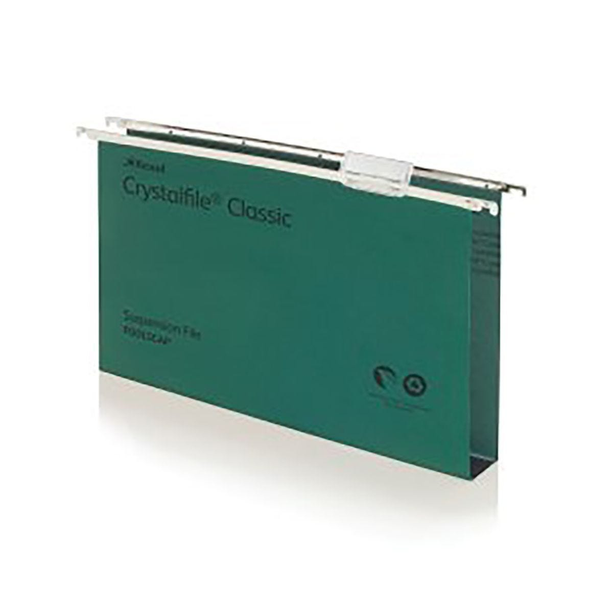 Rexel Crystalfile Classic Foolscap Suspension File 30mm Pack of 50 Green