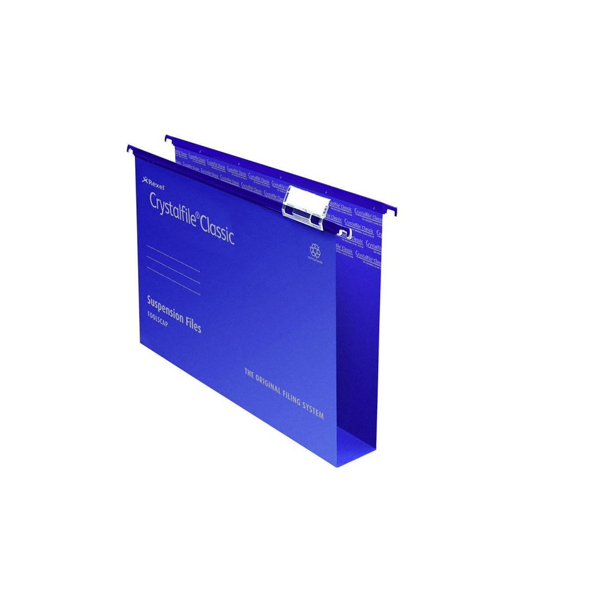 Rexel Crystalfile Classic Foolscap Suspension File 50mm Pack of 50 Blue