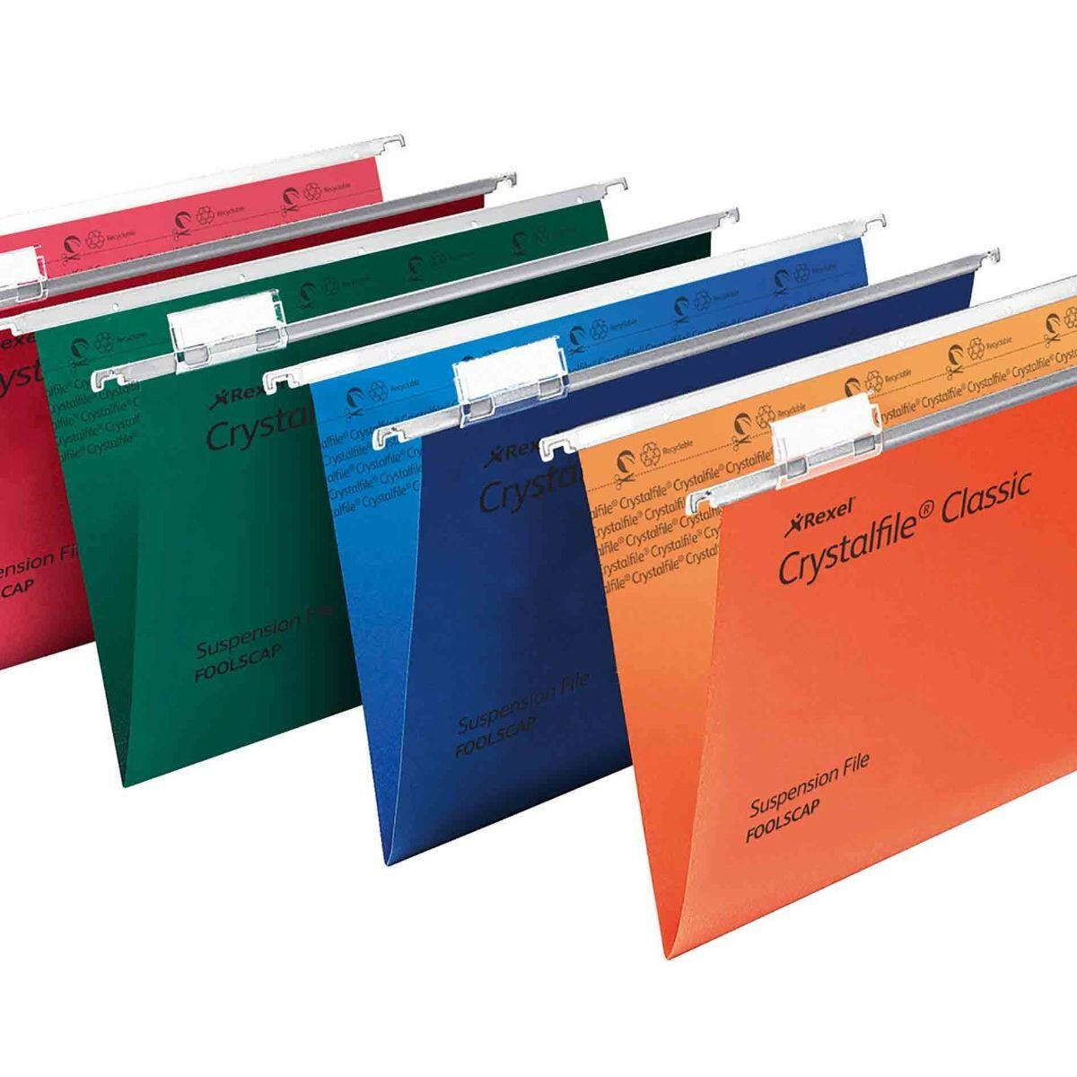 Rexel Crystalfile Classic Foolscap Suspension File 15mm Pack of 50 Red