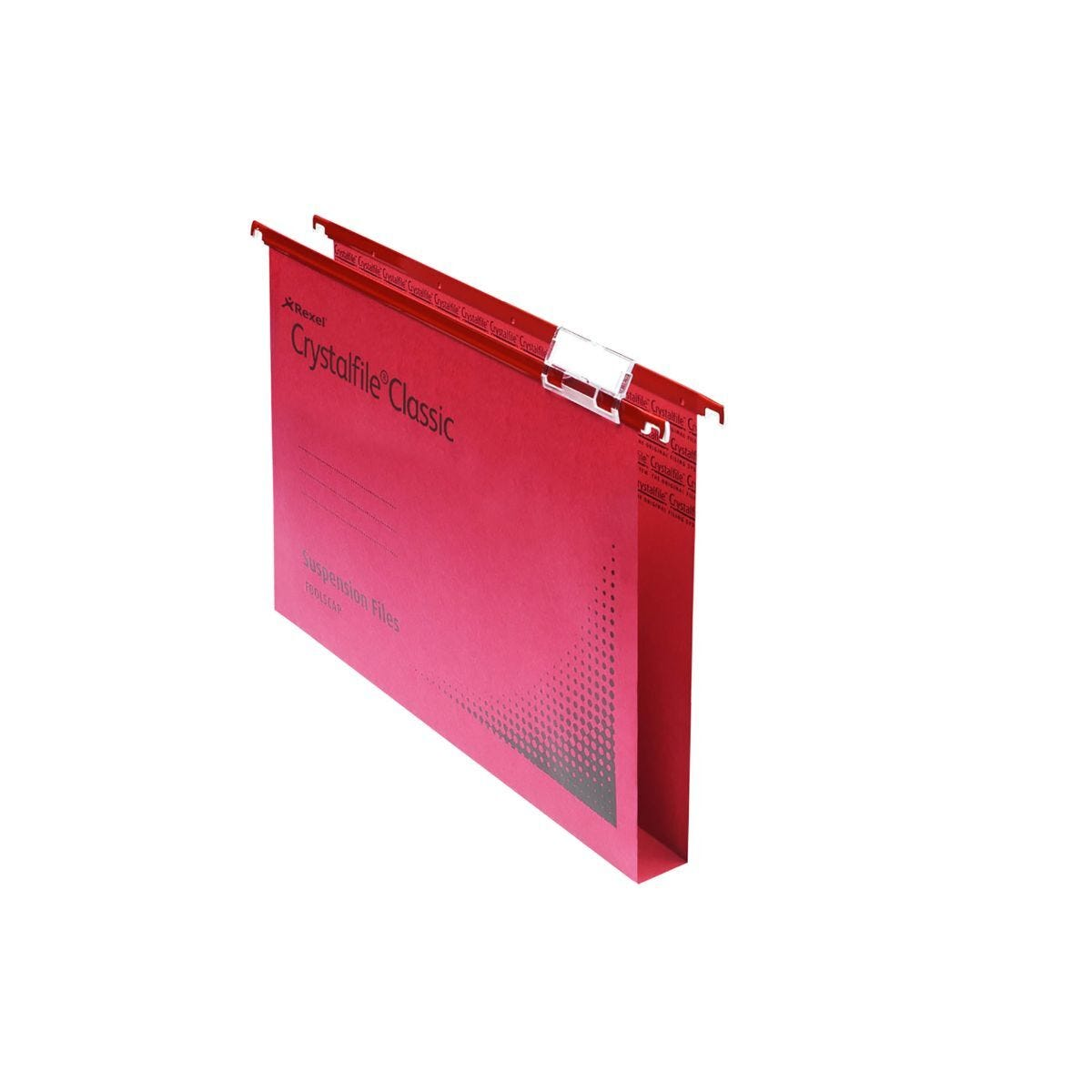 Rexel Crystalfile Classic Foolscap Suspension File 30mm Pack of 50 Red