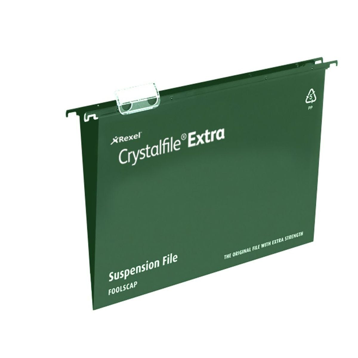 Rexel Crystalfile Extra A4 Suspension File 15mm Pack of 25 Green