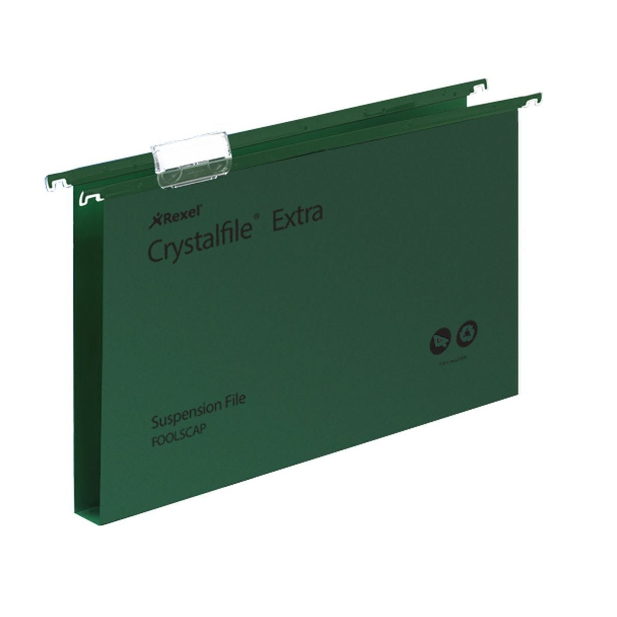 Rexel Crystalfile Extra Foolscap Suspension File 30mm Pack of 25 Green