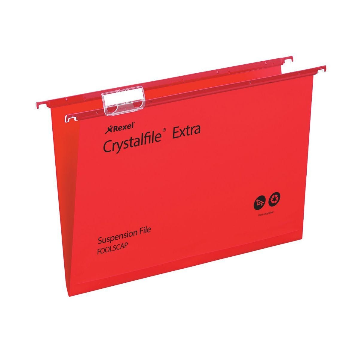 Rexel Crystalfile Extra Foolscap Suspension File 15mm Pack of 25 Red