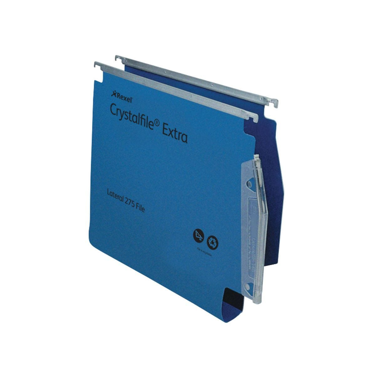 Rexel Crystalfile Extra 275 Lateral Suspension File 30mm Pack of 25 Blue