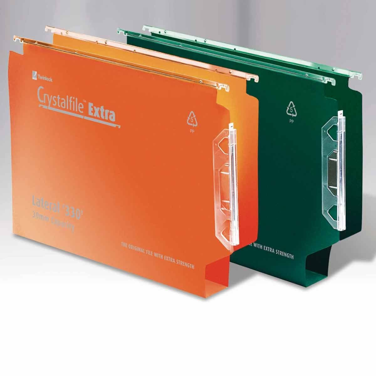 Rexel Crystalfile Extra 330 Lateral Suspension File 30mm Pack of 25 Orange