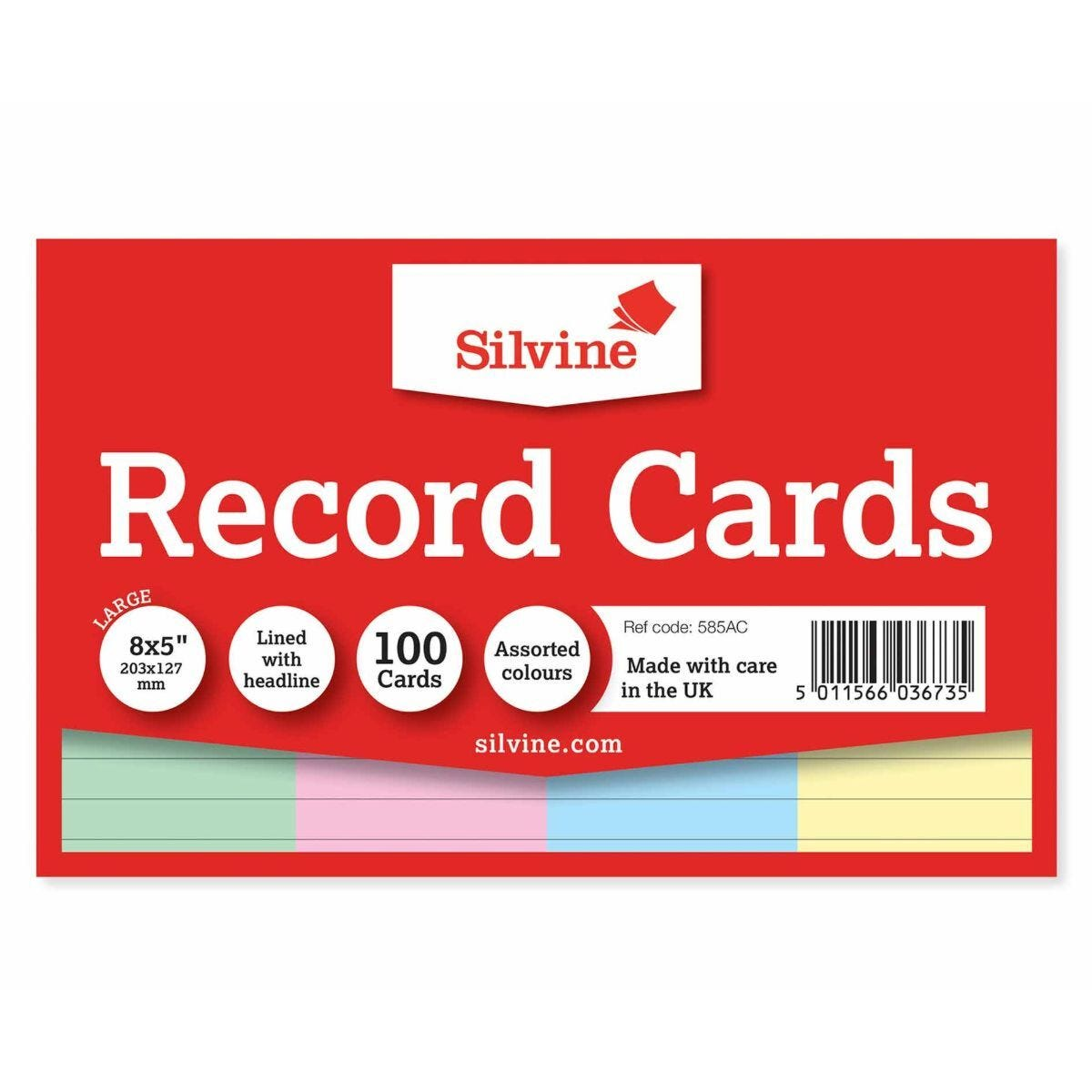 Silvine Record Cards 204x127mm Ruled Pack of 100