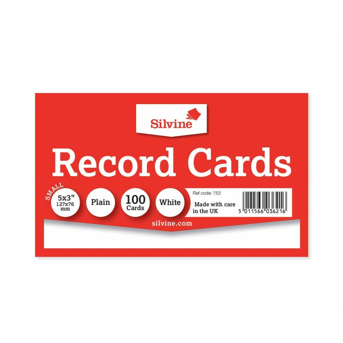 Silvine Record Cards 127x77mm Plain Pack of 100