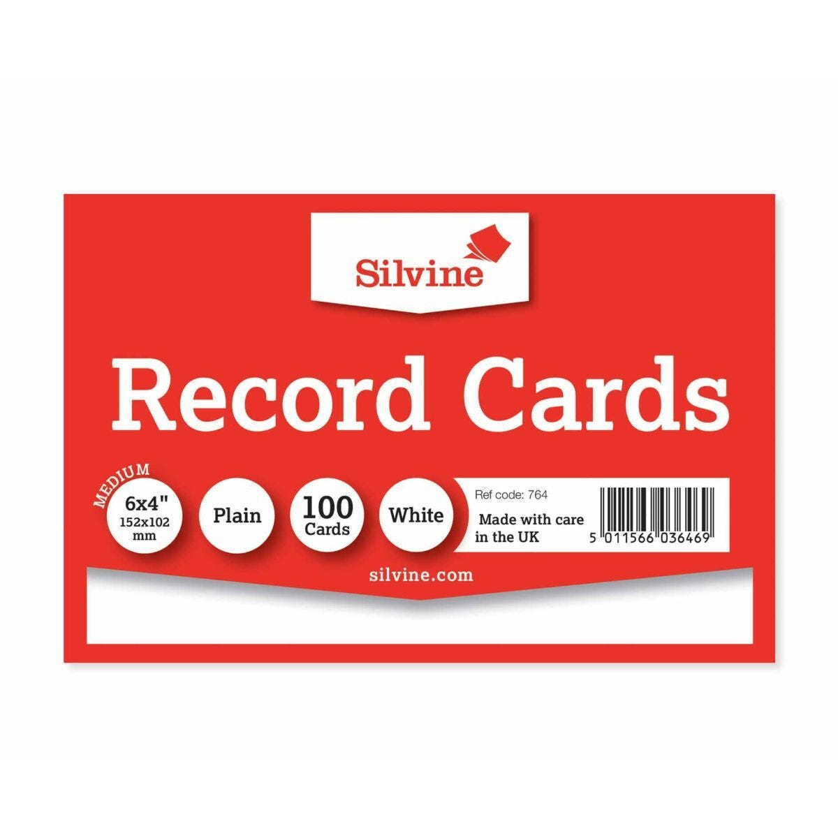 Silvine Record Cards 152x101mm Plain Pack of 100