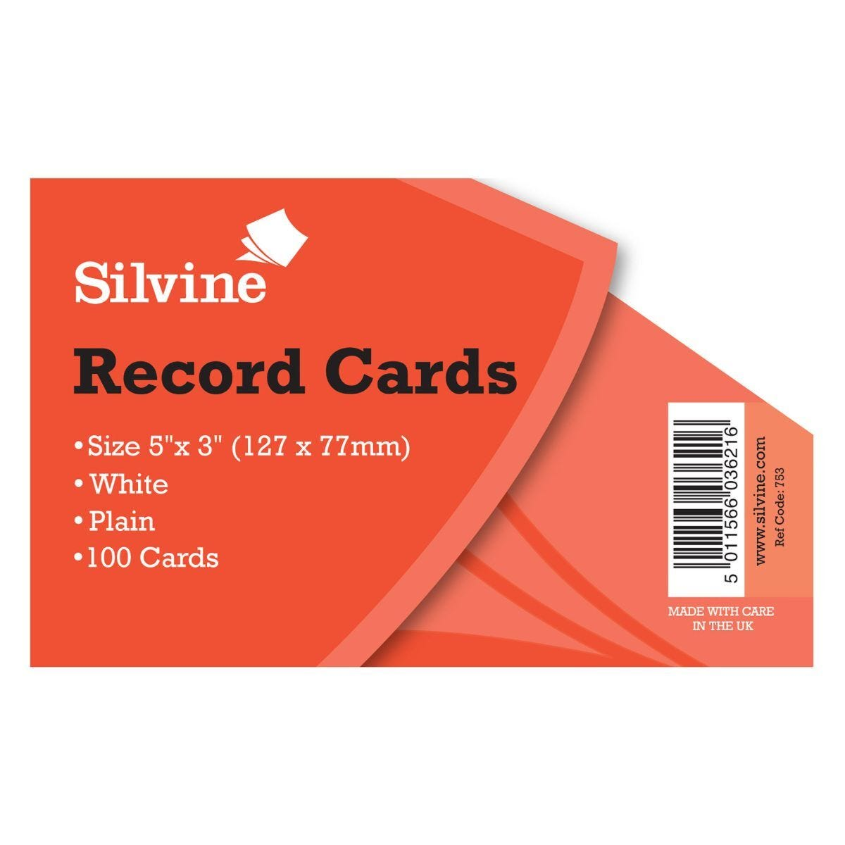 Silvine Record Cards Plain 5x3 Pack of 1000 White