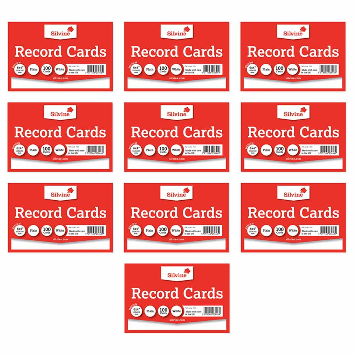 Silvine Record Cards 6x4 Plain Pack of 1000