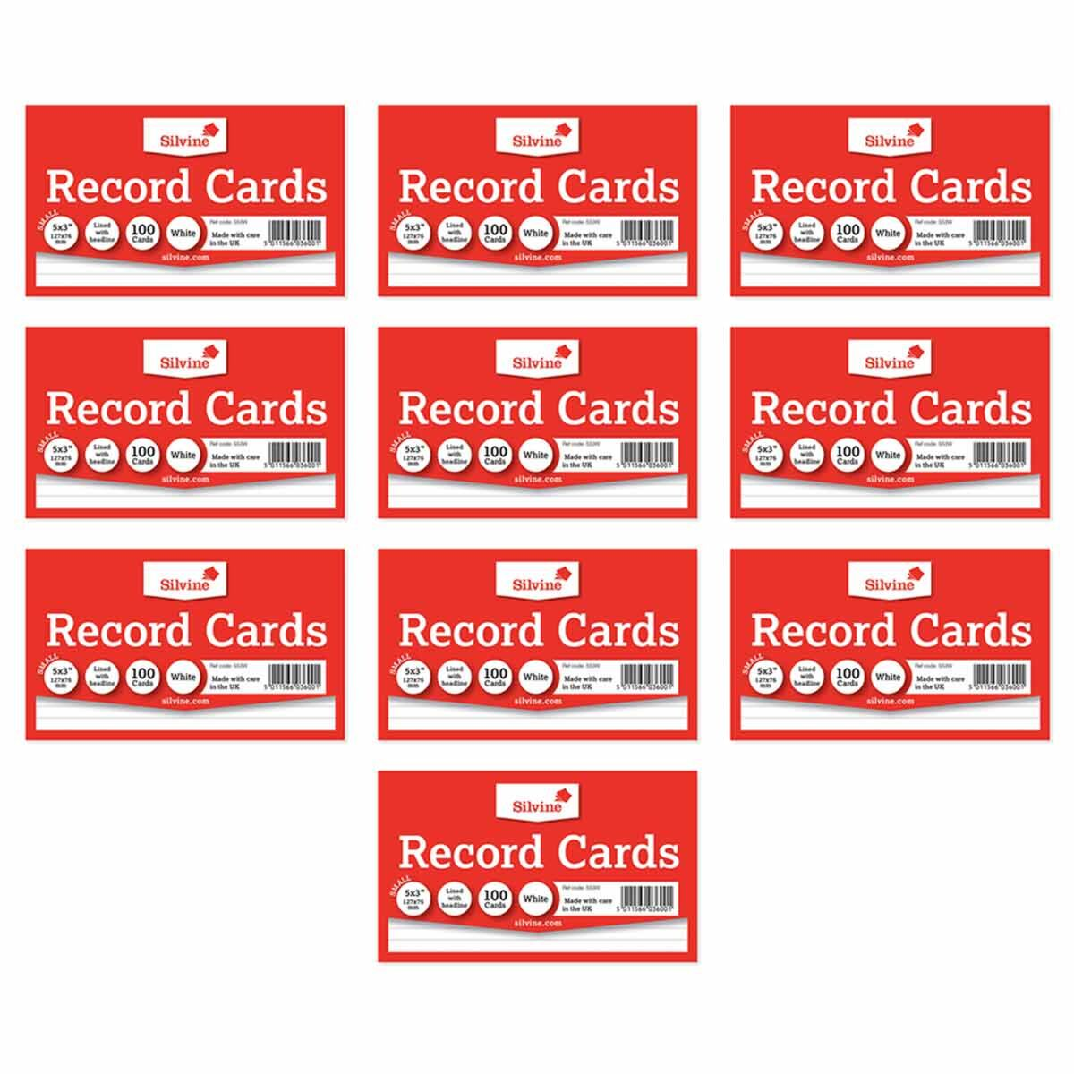 Silvine Record Cards 5x3 Ruled Pack of 1000