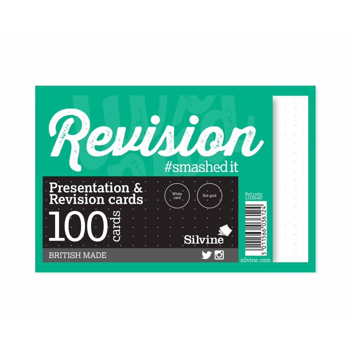 Silvine Dot Grid Revision Cards 100 Cards 6x4inch