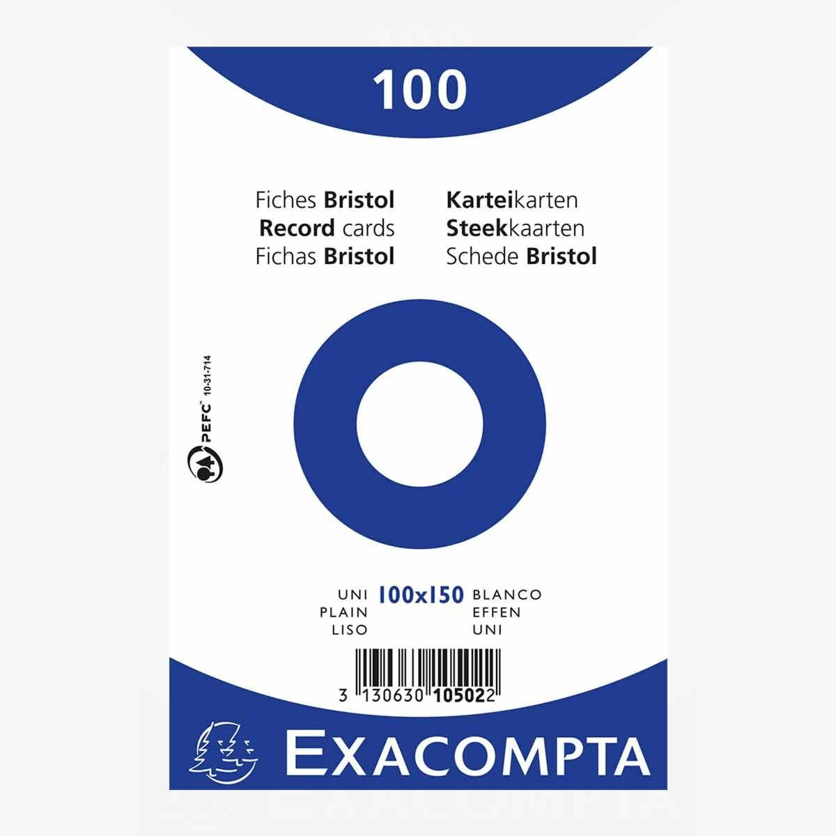 Exacompta Record Cards 10x15cm Plain 20 Packs of 100