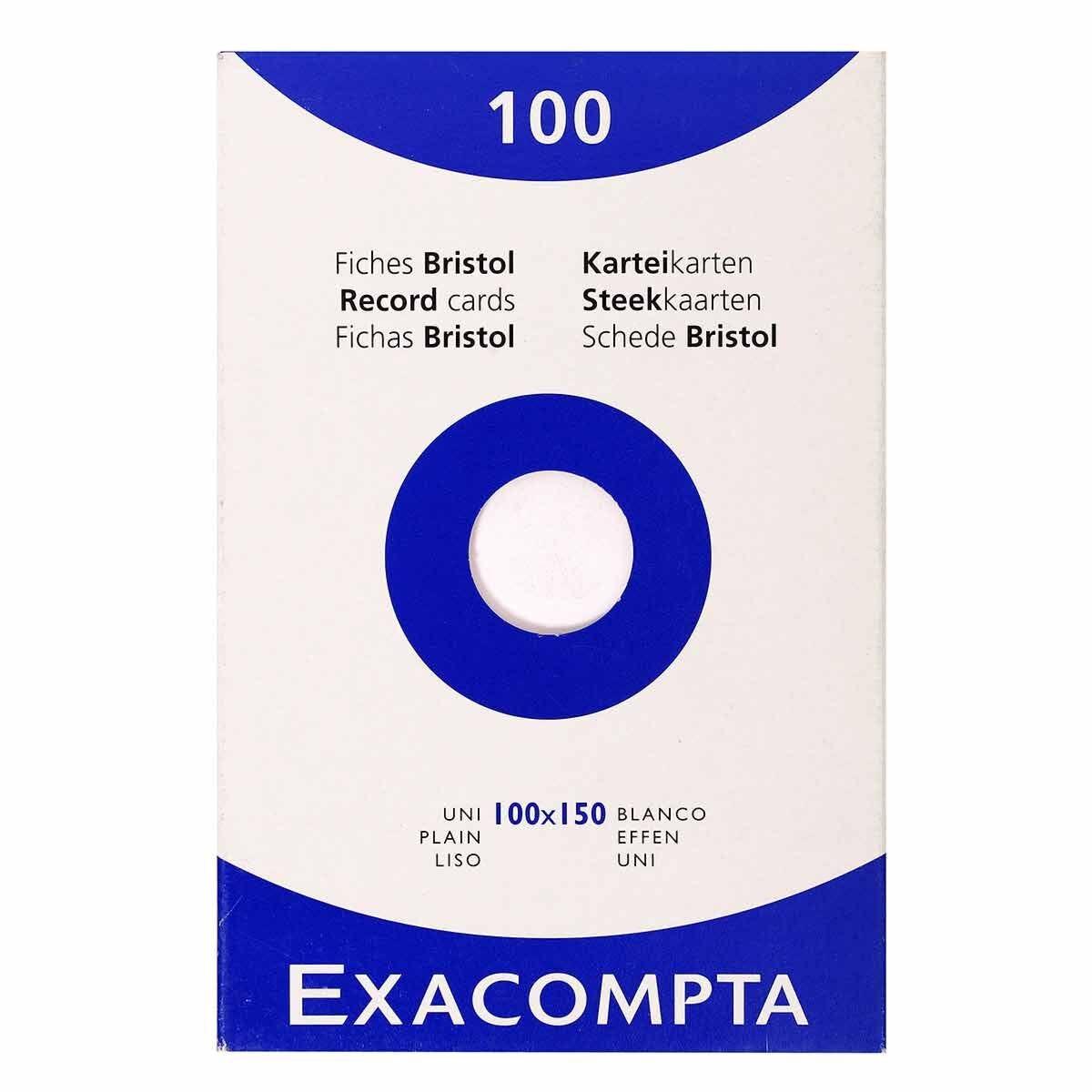 Exacompta Record Cards 10x15cm Plain 12 Packs of 100