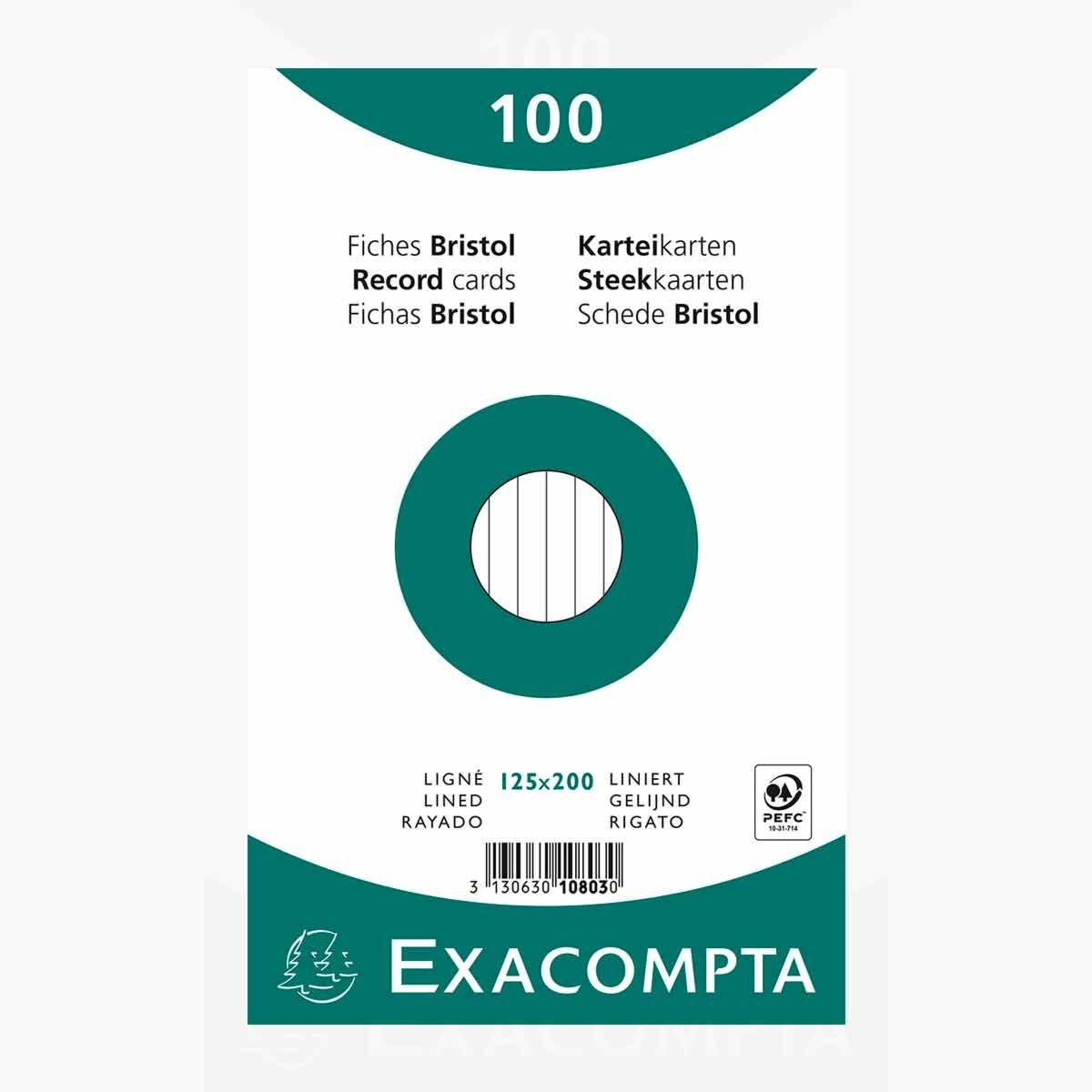 Exacompta Record Cards 12.5x20cm Lined 12 Packs of 100