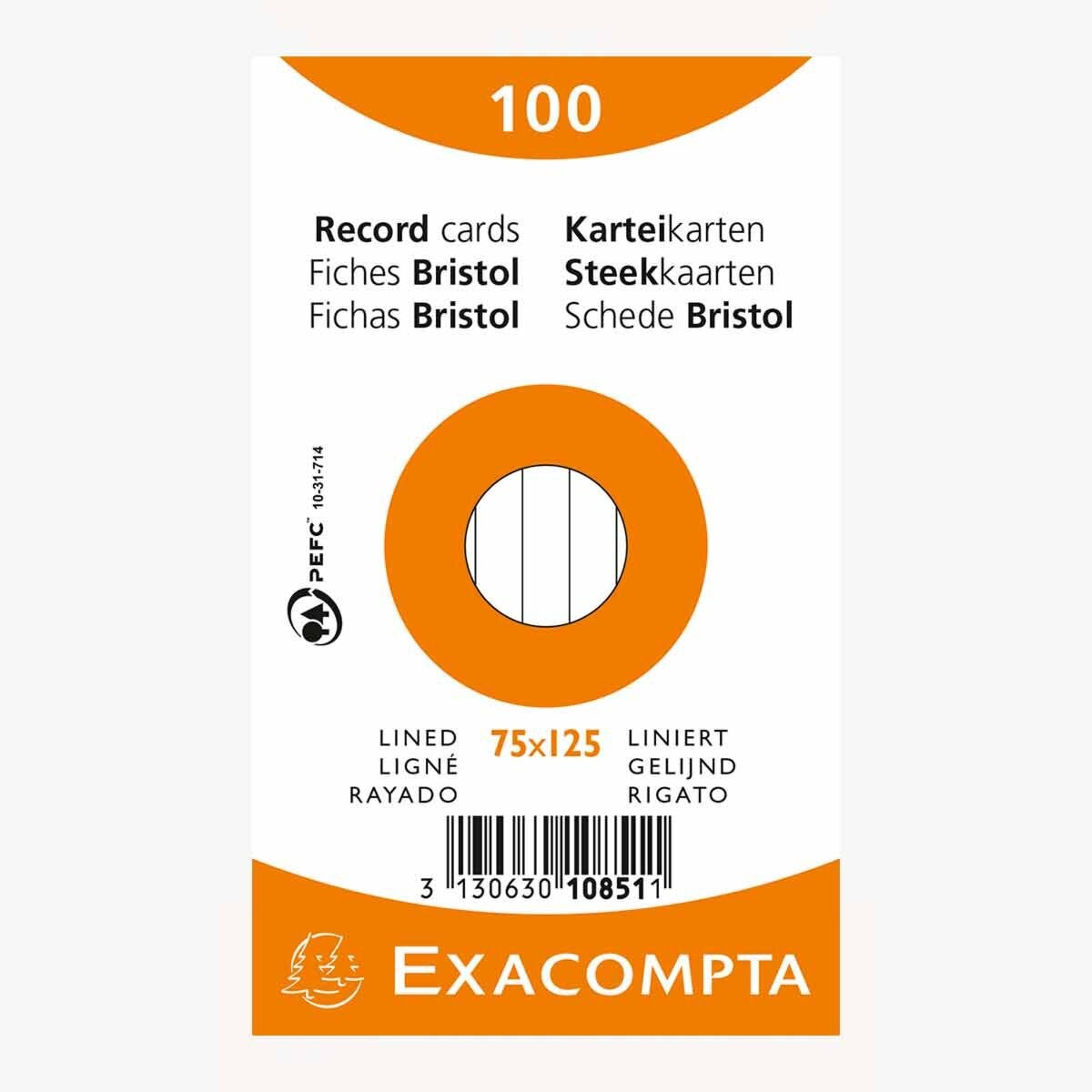 Exacompta Record Cards 7.5x12.5cm Lined Assorted Colours Pack of 100