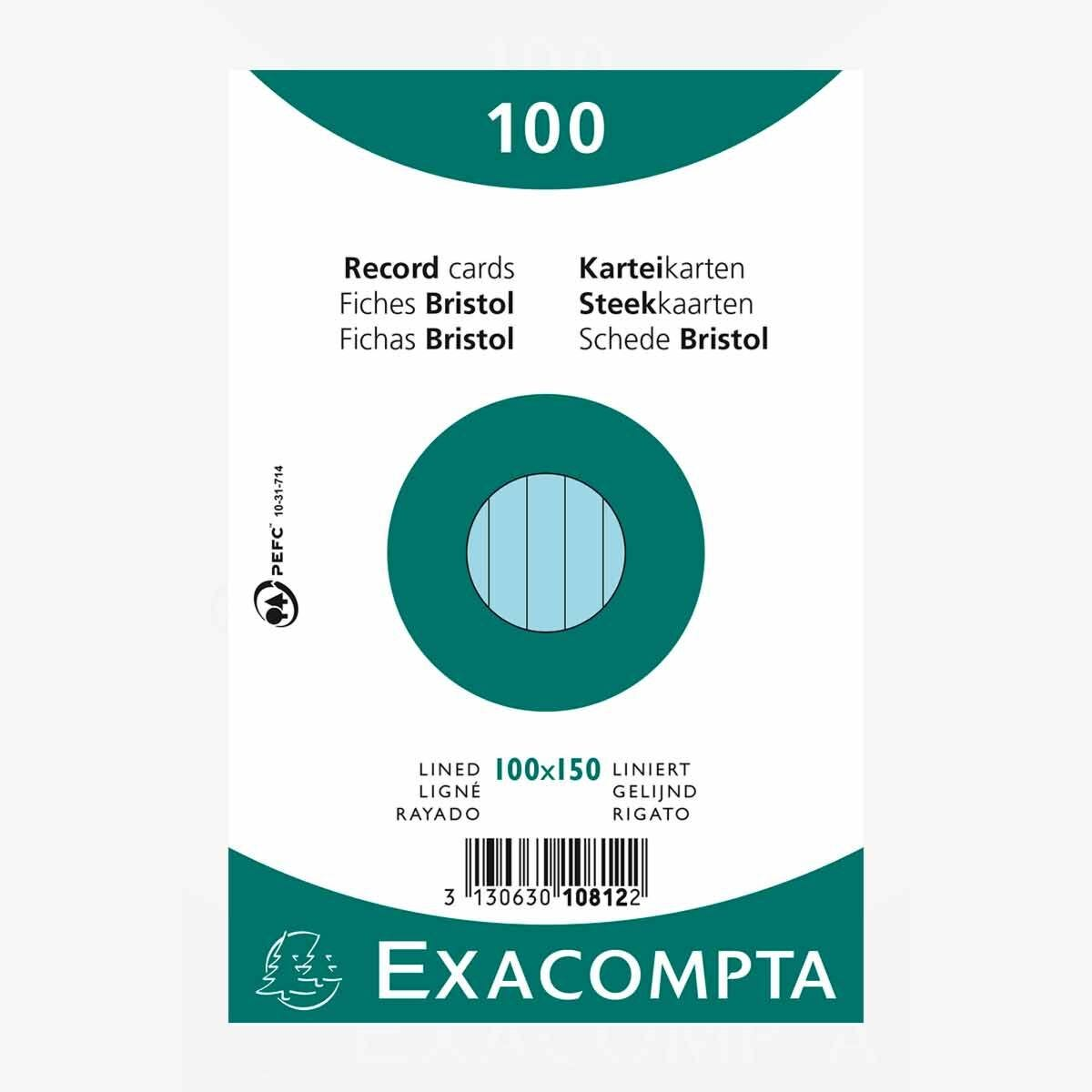 Exacompta Record Cards 10x15cm Lined Blue Pack of 100