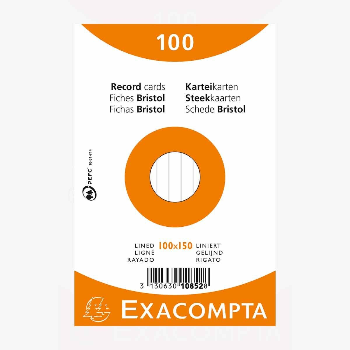 Exacompta Record Cards 10x15 Lined Assorted Colours Pack of 100