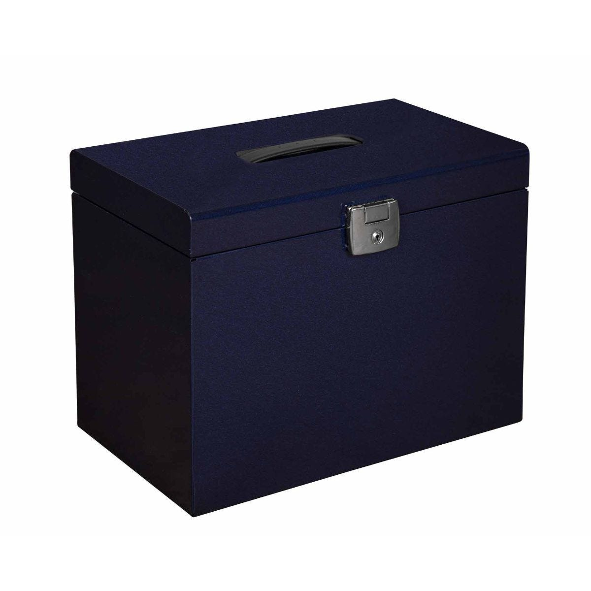 Pierre Henry Metal File Box A4 with 5 Suspension Files Navy