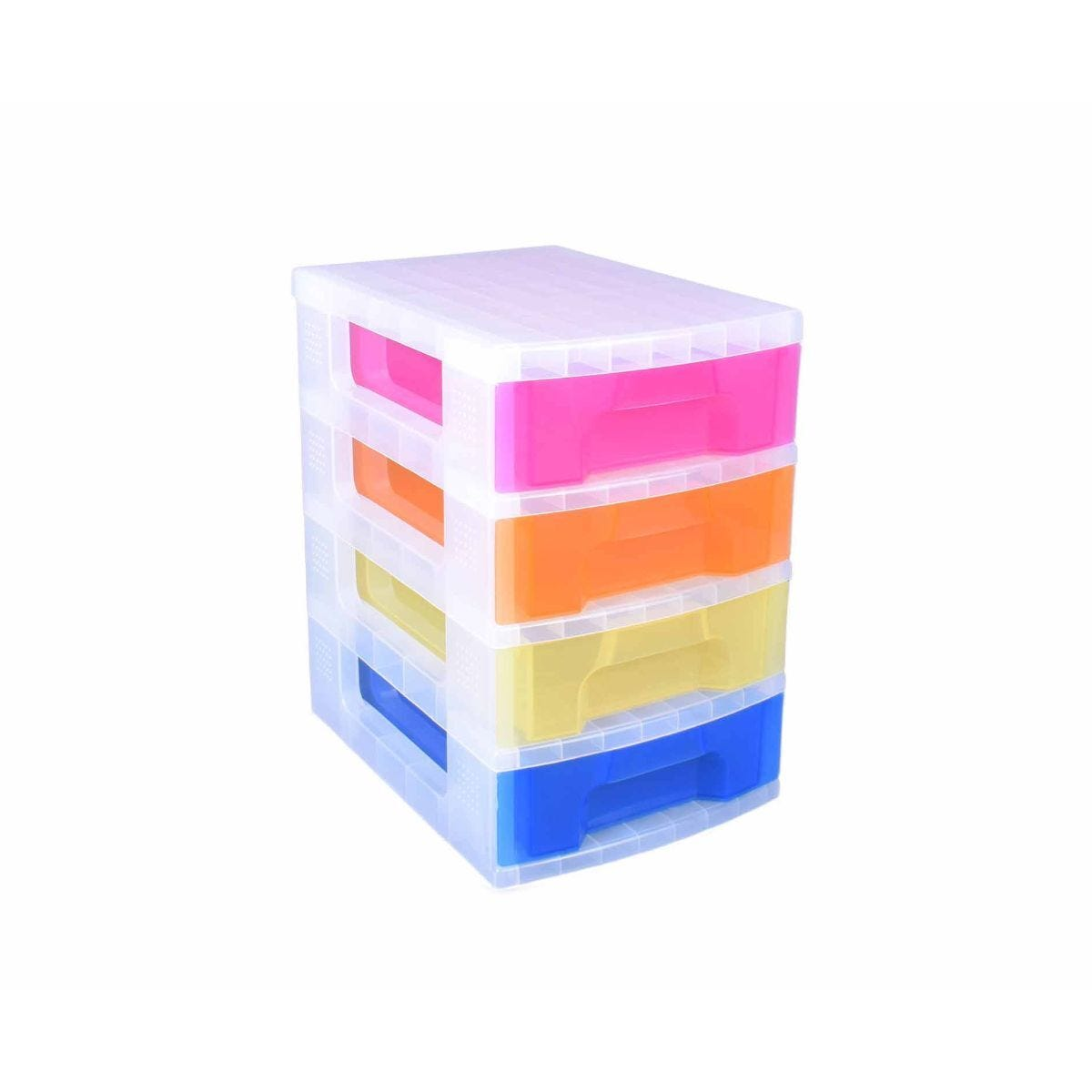 Really Useful Storage Drawer Unit Clear/Rainbow 4x7 Litre
