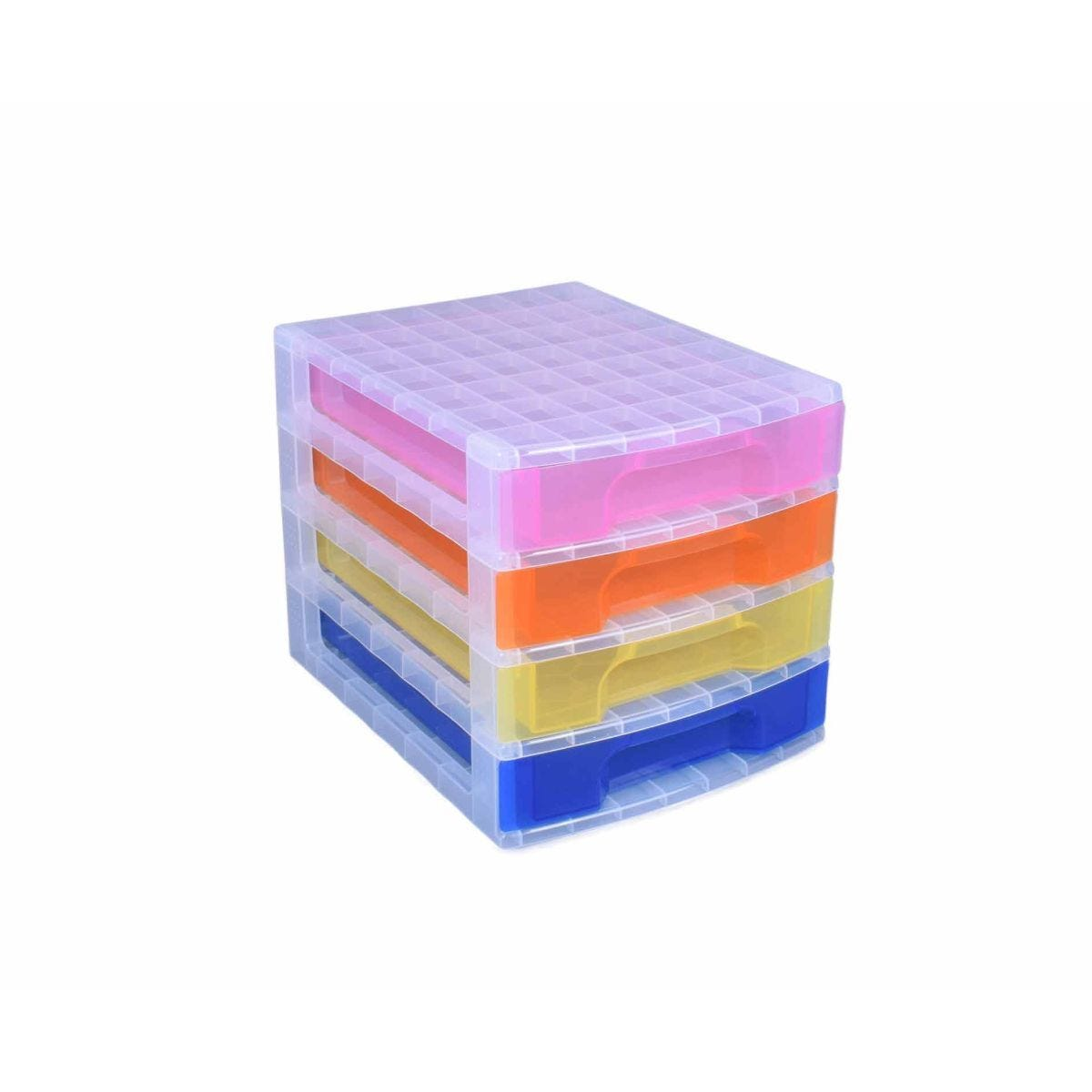 Really Useful Storage Drawer Unit Clear/Rainbow 4x5 Litre