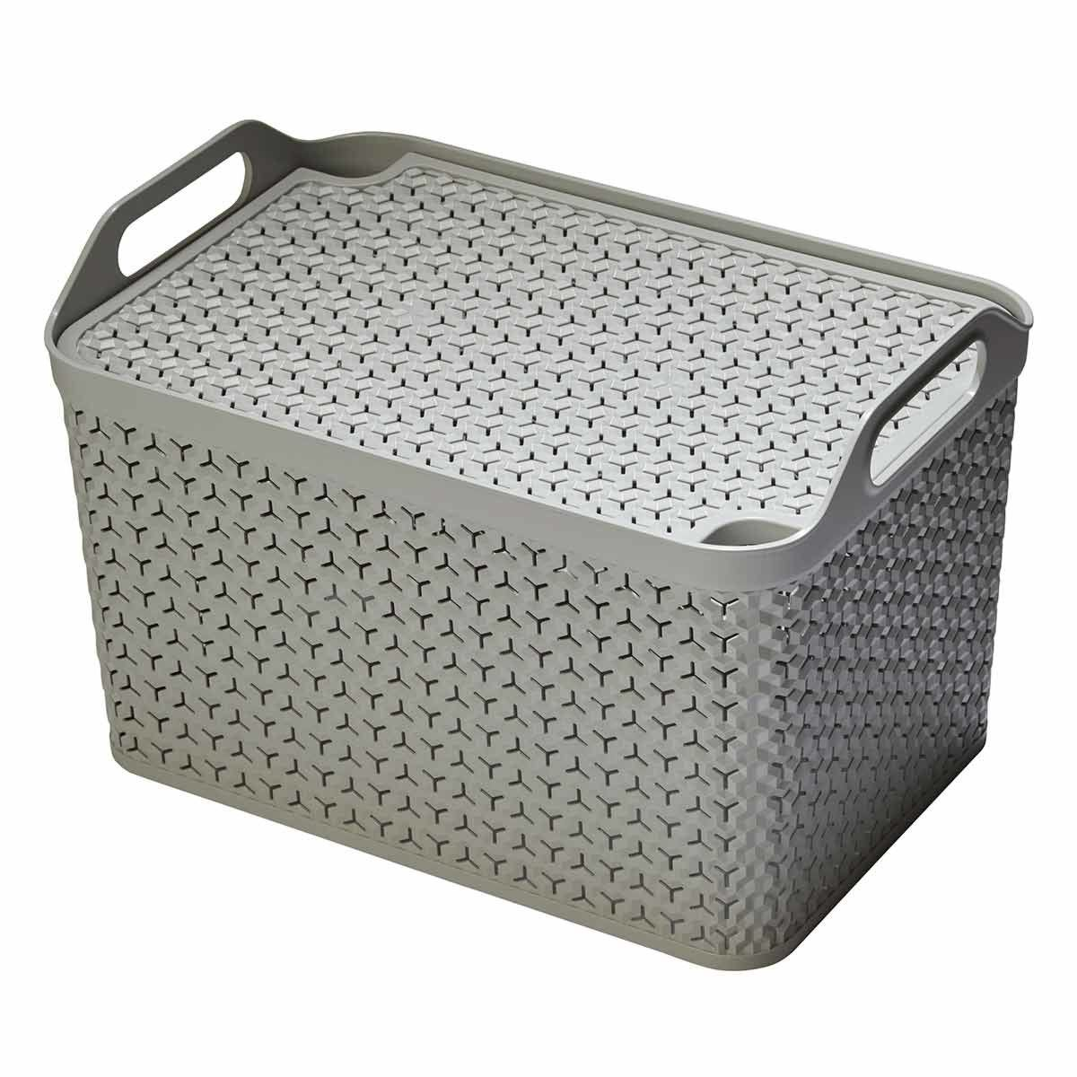 Strata Urban Store Basket with Lid 21 Litre Grey