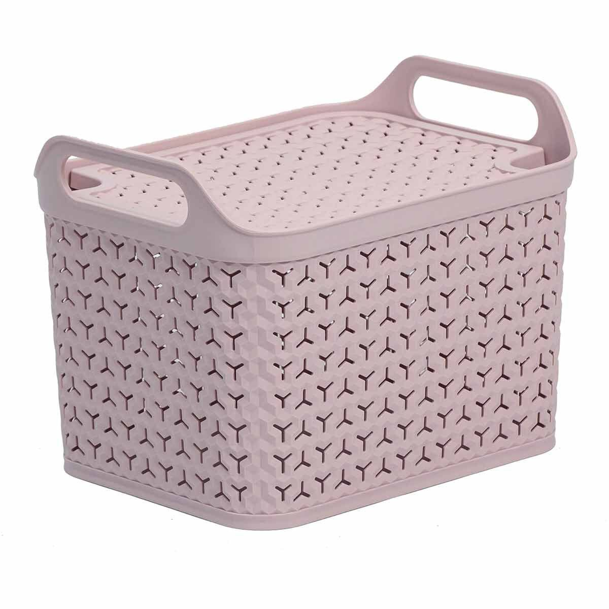 Strata Urban Store Basket with Lid 14 Litre Blush