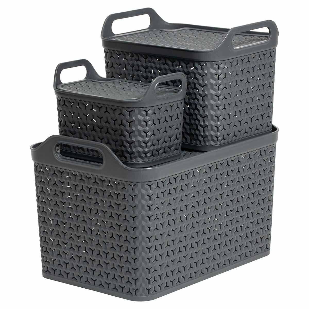 Strata Urban Store Baskets with Lid Set of 3 Charcoal