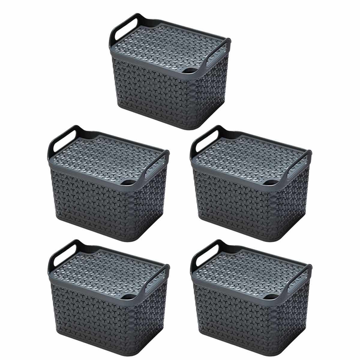Strata Urban Store Basket with Lid 14 Litre Pack of 5 Charcoal