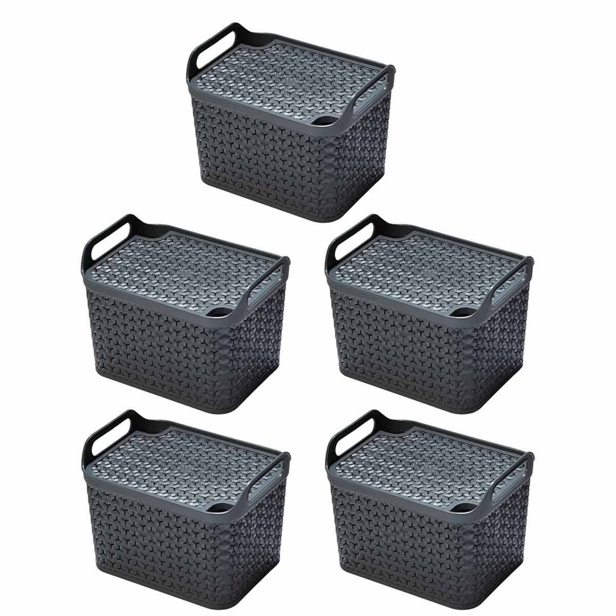Strata Urban Store Basket with Lid 14 Litre Pack of 5