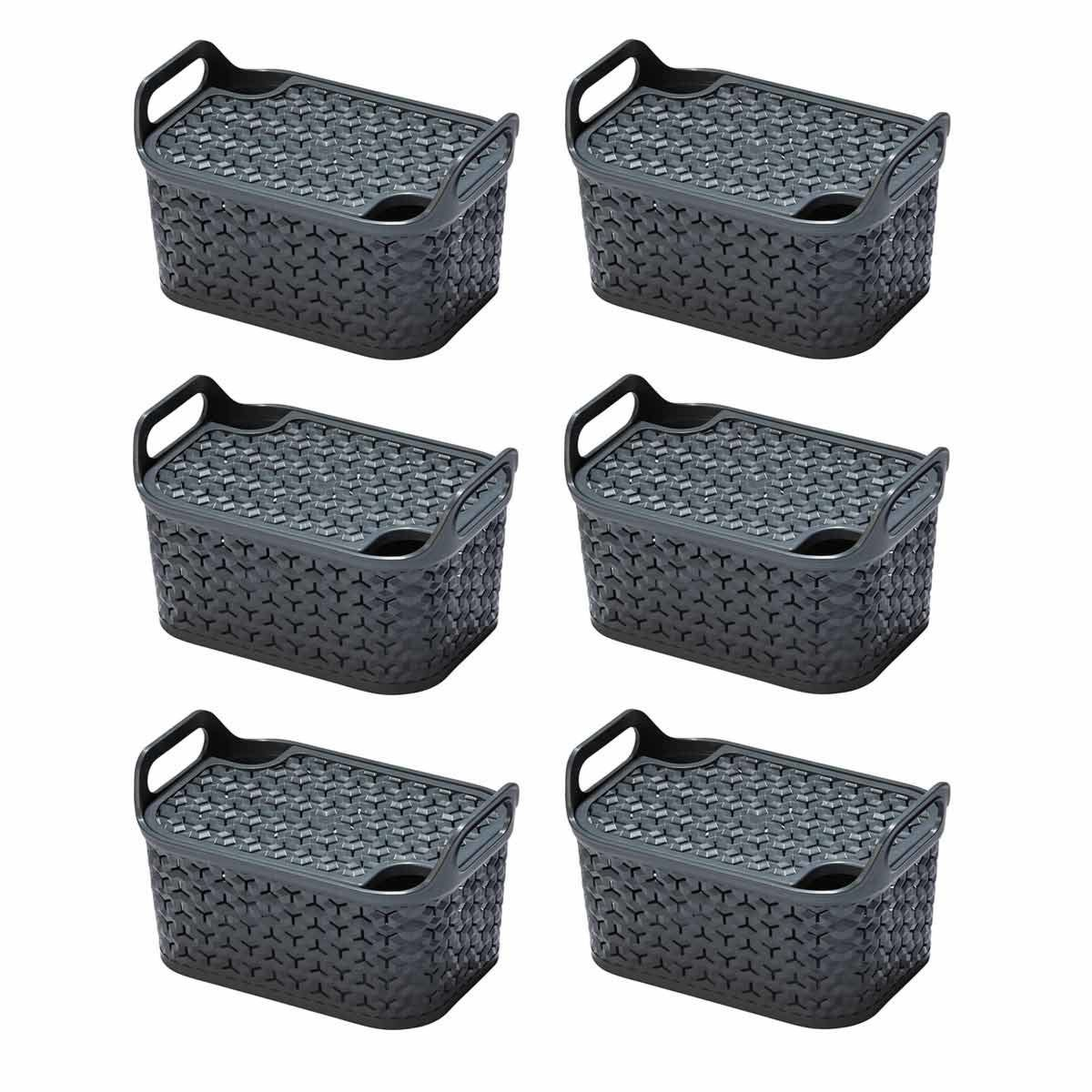 Strata Urban Store Basket with Lid 8 Litre Pack of 6 Charcoal