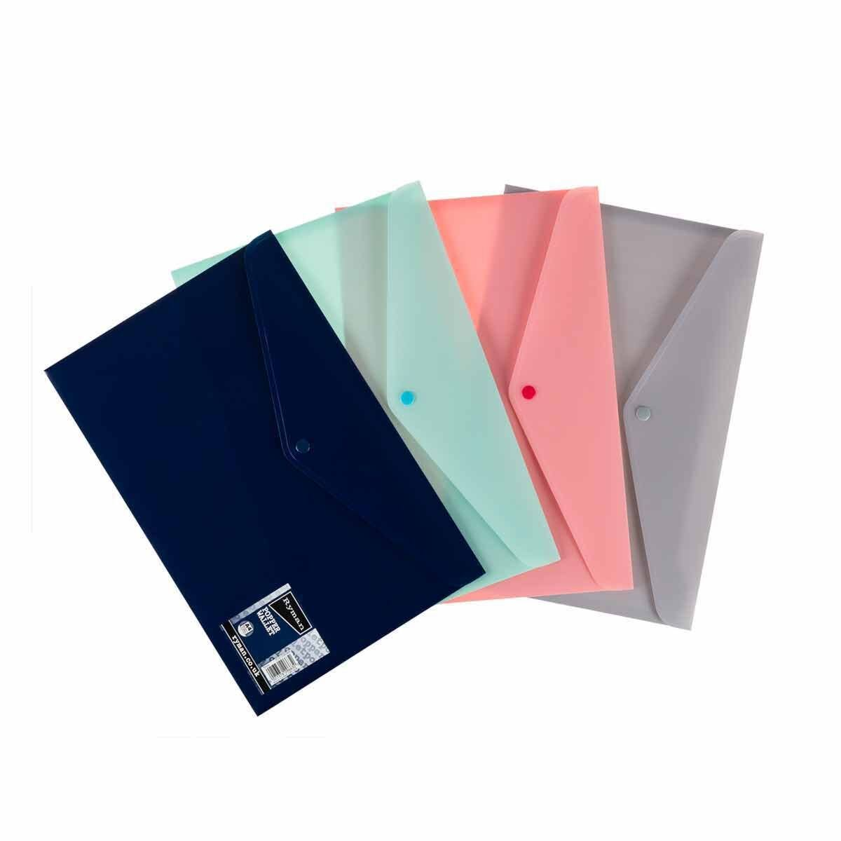 Ryman Pastel Popper Wallet A4 Pack of 8 Assorted