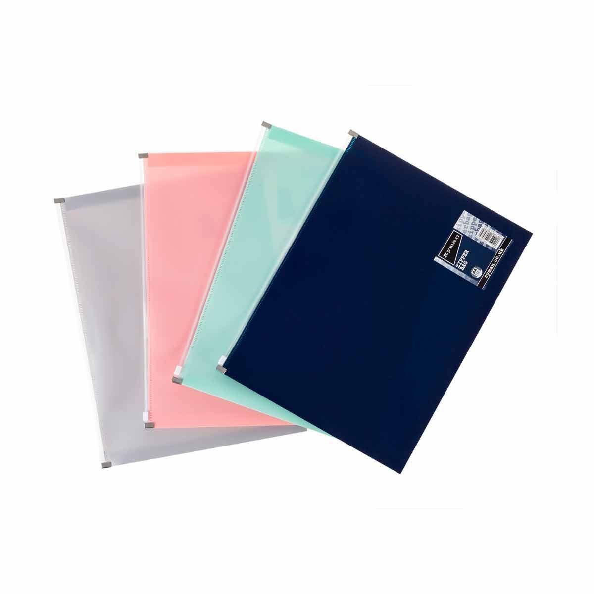 Ryman Pastel Zip Bag A4 Pack of 4 Assorted