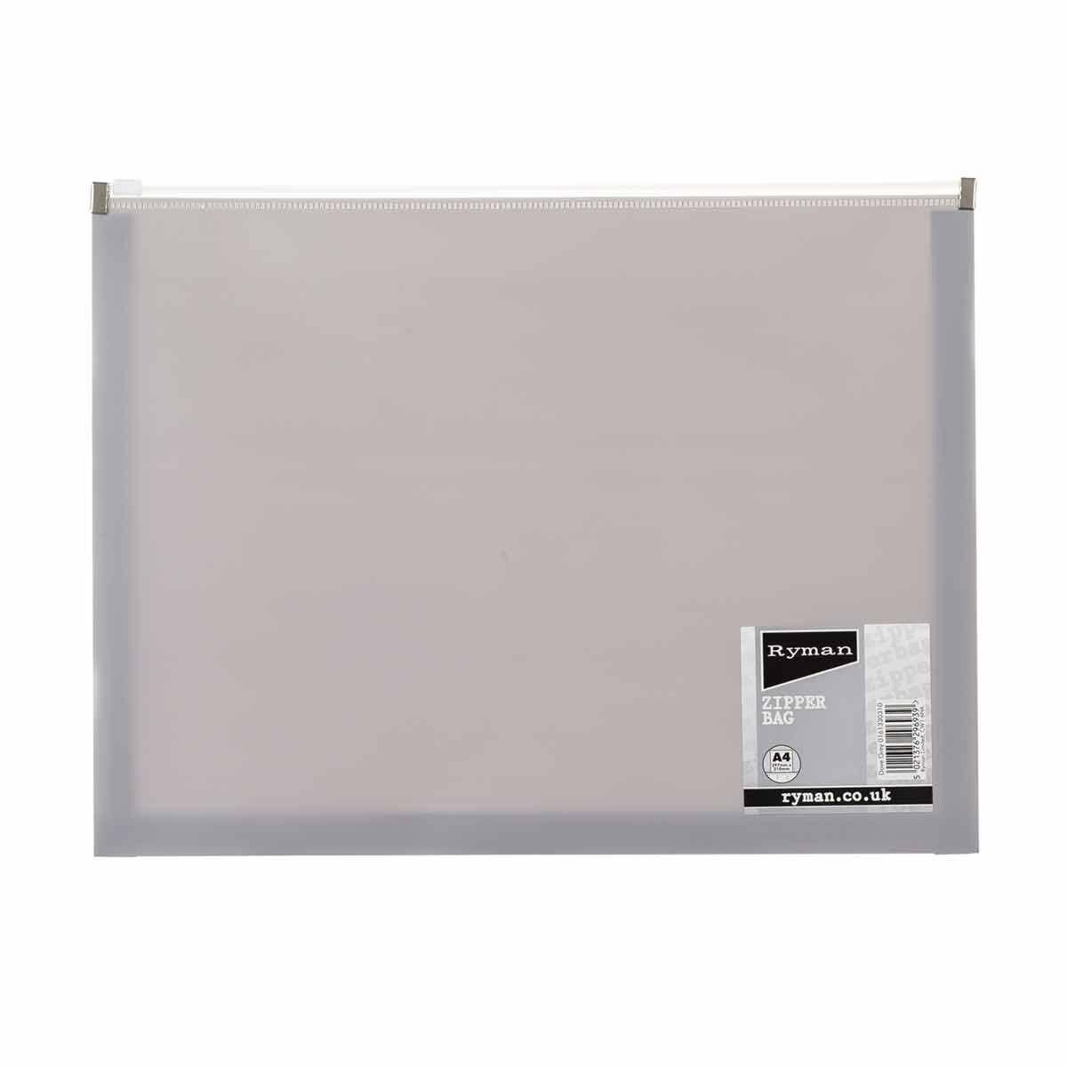 Ryman Pastel Zip Bag A4 Dove Grey