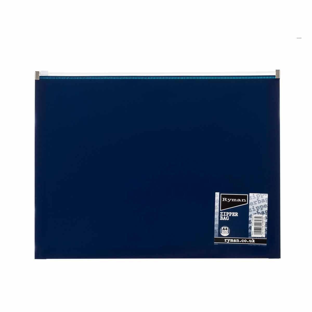 Ryman Pastel Zip Bag A4 Navy