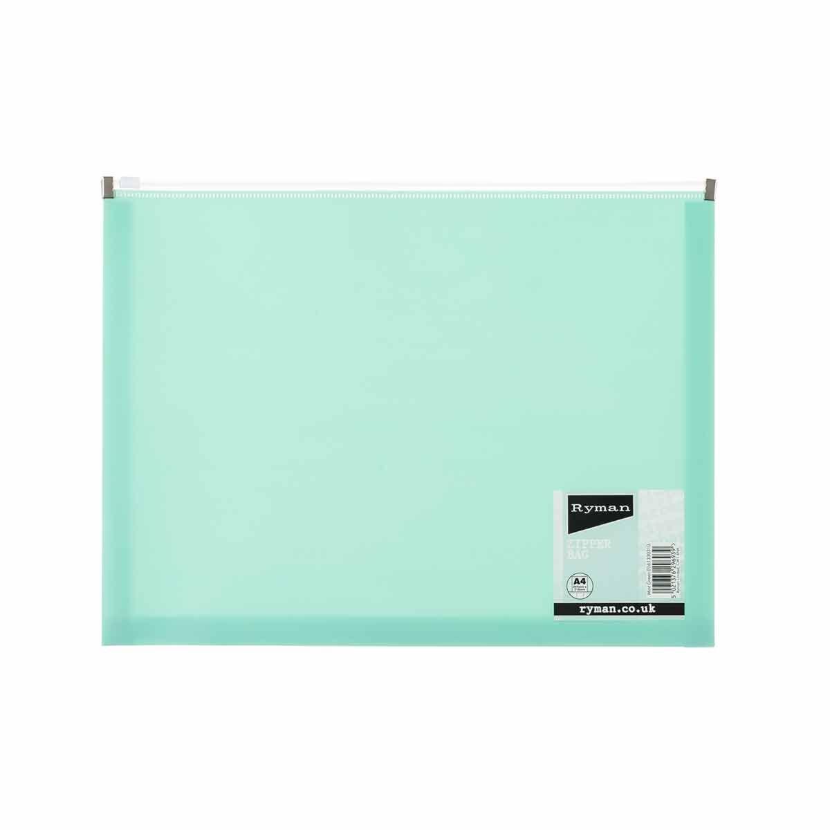 Ryman Pastel Zip Bag A4 Mint