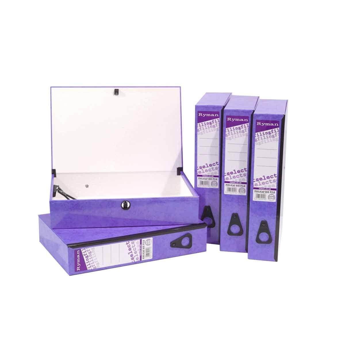 Ryman Select Box File Foolscap Pack of 5 Purple