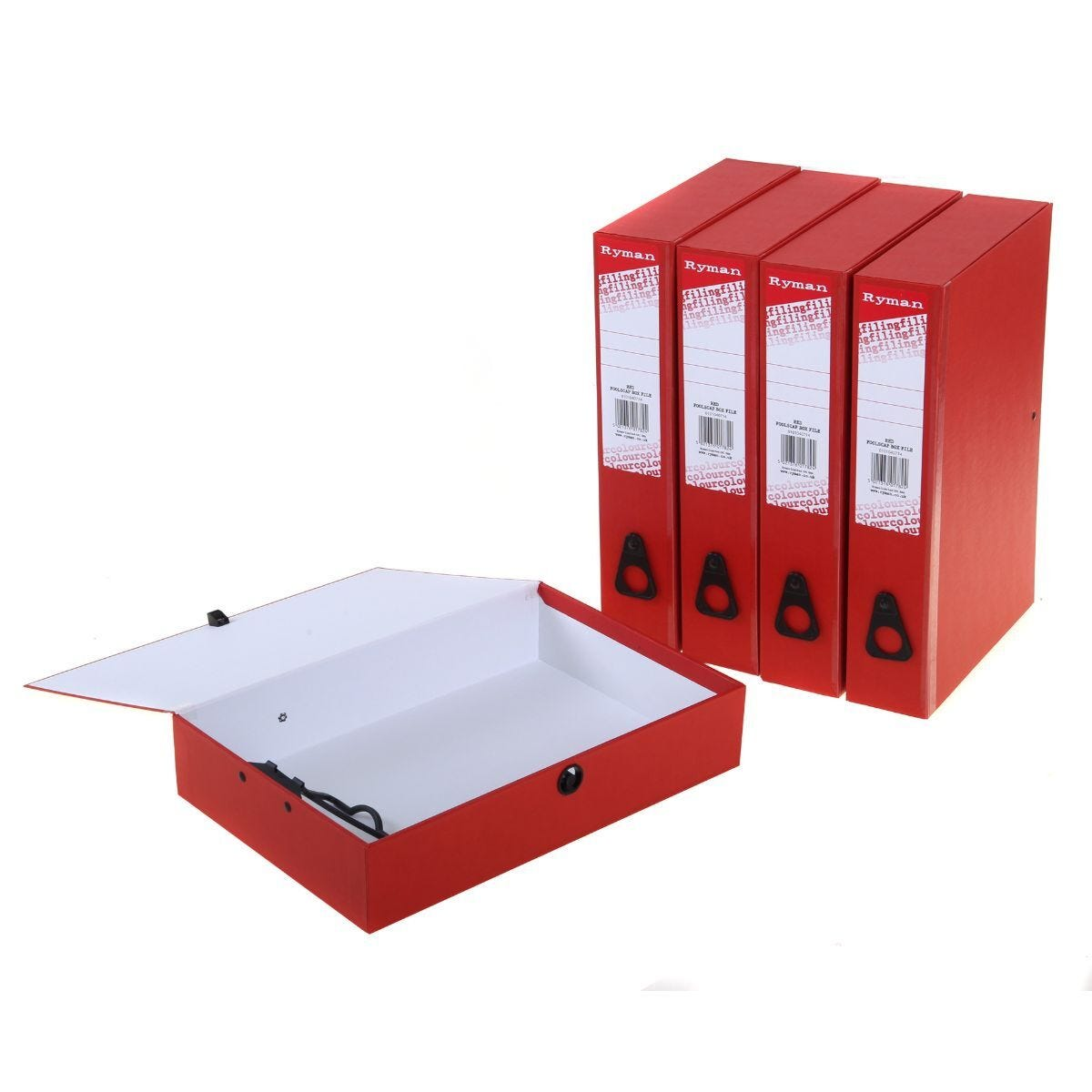 Ryman Colour Box File Foolscap Pack of 5 Red