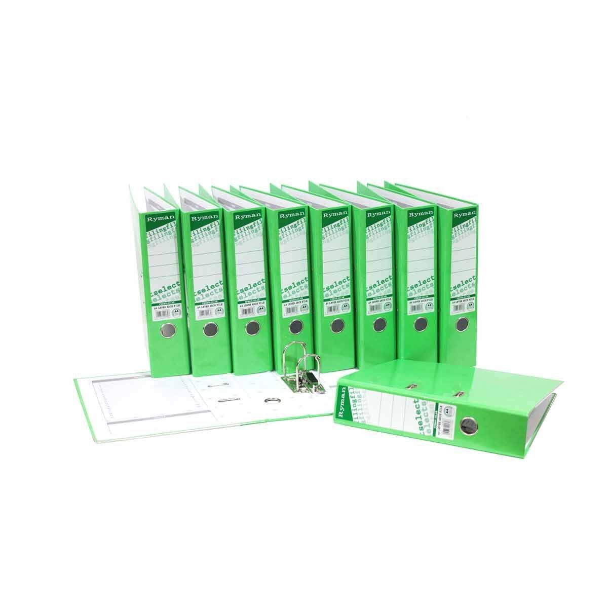 Ryman Select A4 Lever Arch Pack of 10 Green