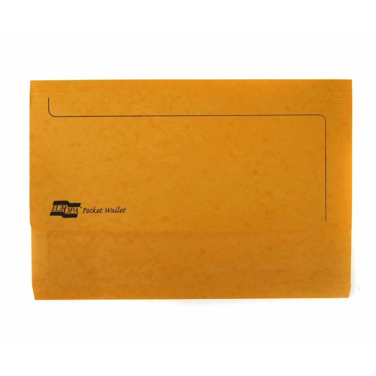 Europa Pocket Wallets Foolscap Pack of 25 Yellow
