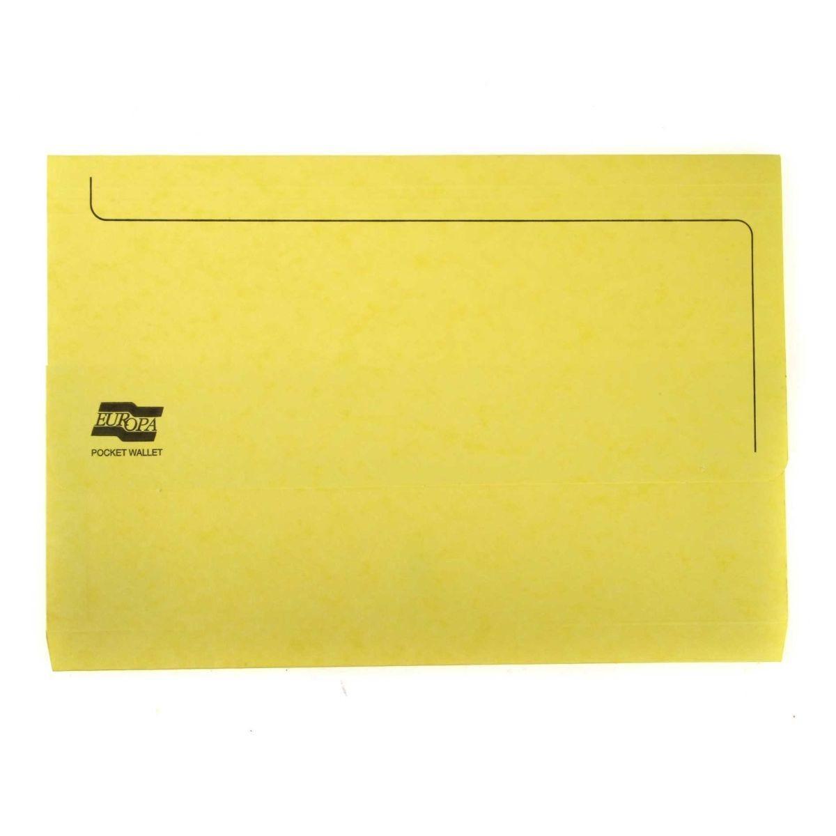 Europa Pocket Wallets Foolscap Pack of 25 Lemon