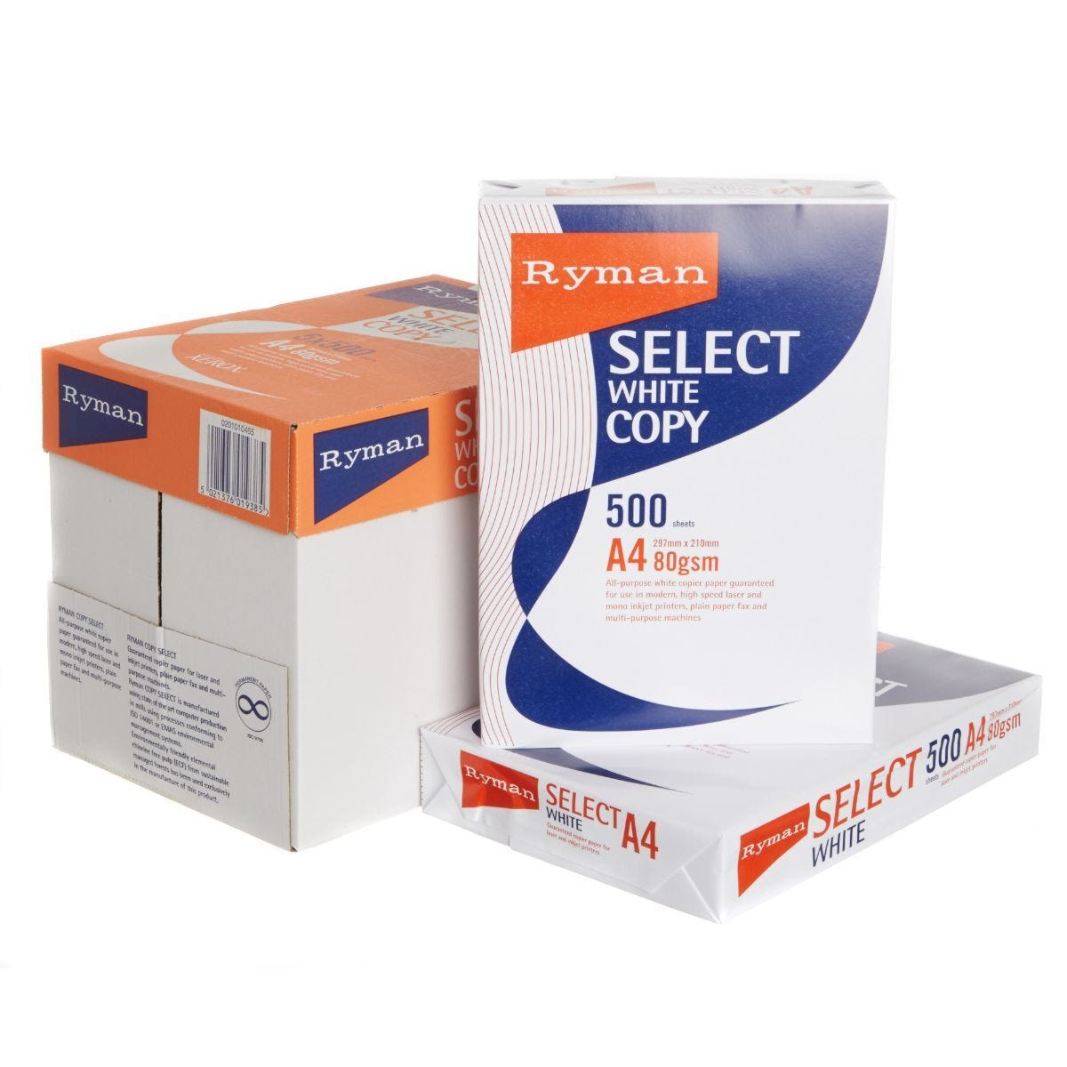 Ryman Select Copy Ream of Paper A4 80gsm 500 Sheets  Box of 5 Reams