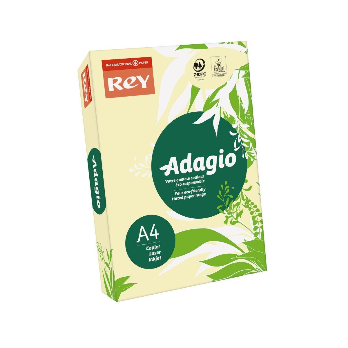 Rey Adagio Ream of Paper Pastel Coloured A4 80gsm 500 Sheets Canary