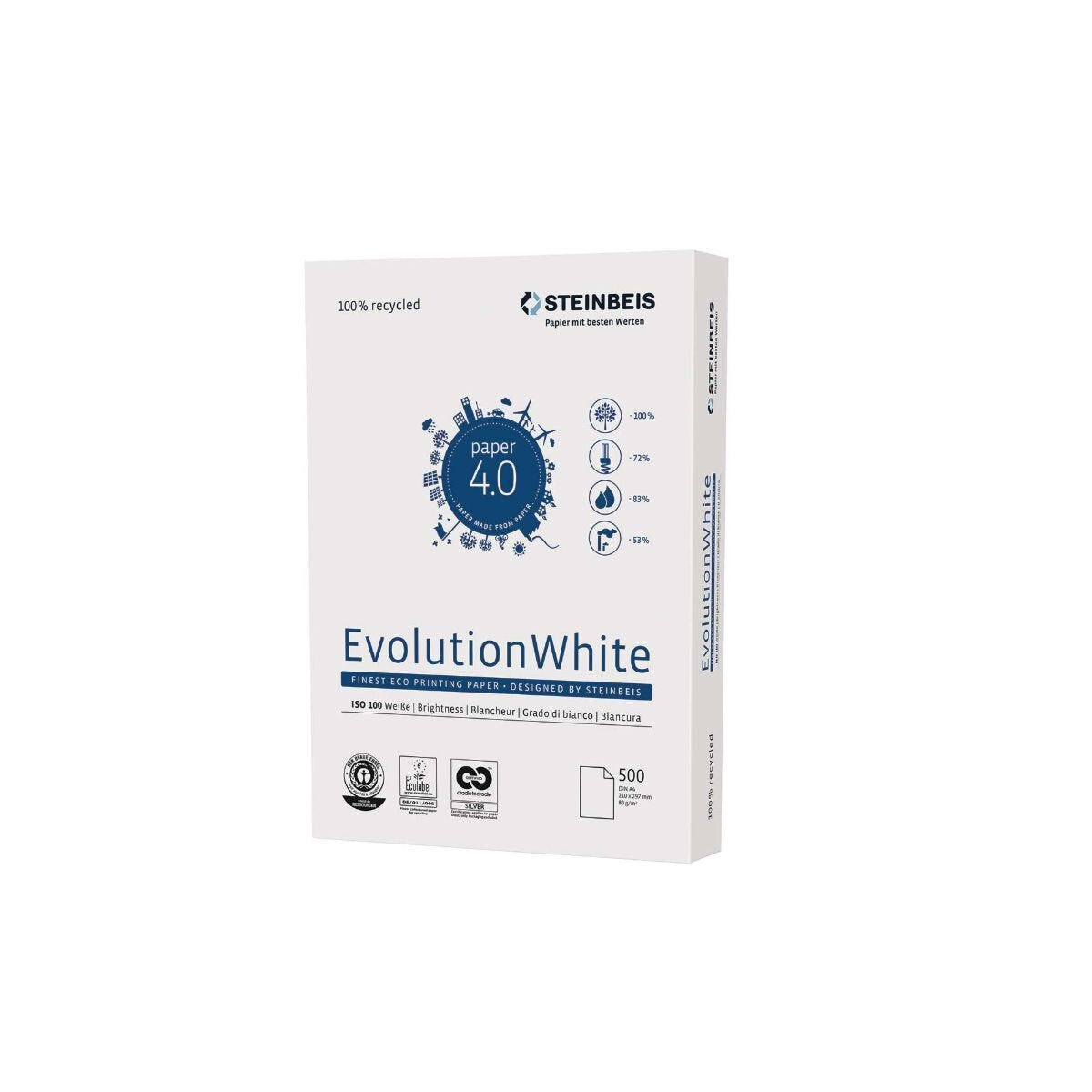 Steinbeis Evolution Recycled A4 Copier Paper 80gsm White Box of 5 Reams
