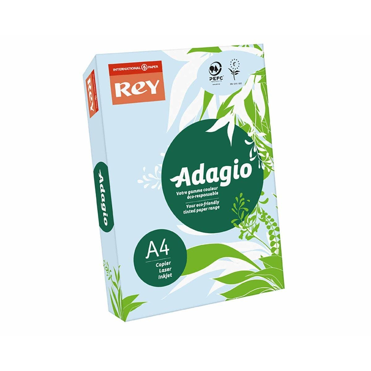 Rey Adagio Ream of Paper Pastel Coloured A4 80gsm 500 Sheets Blue
