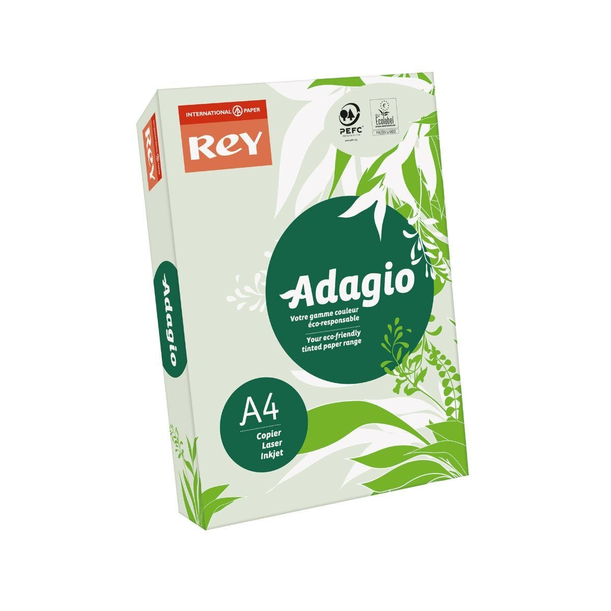 Rey Adagio Ream of Paper Pastel Coloured A4 80gsm 500 Sheets Green