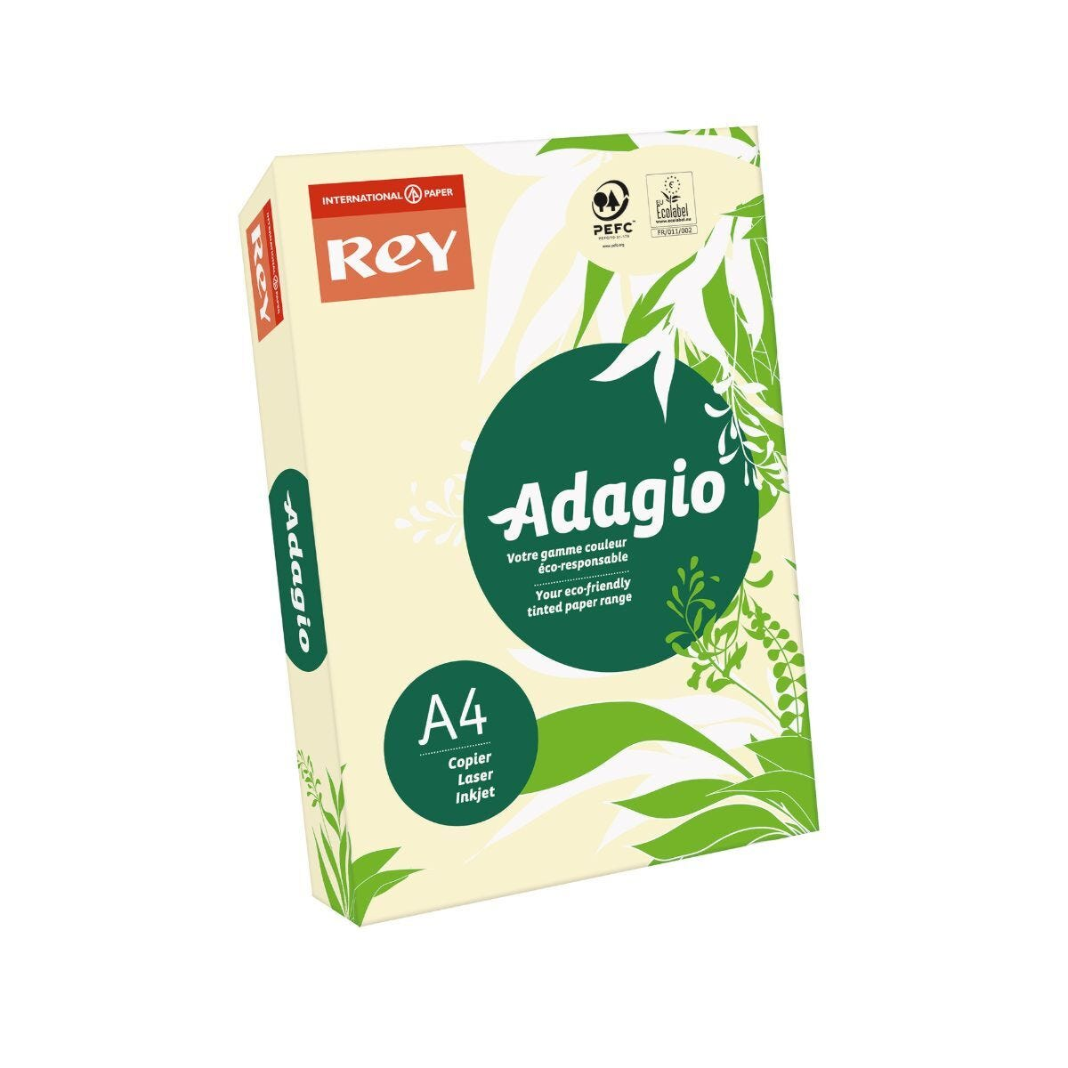 Rey Adagio Ream of Paper Pastel Coloured A4 80gsm 500 Sheets Ivory